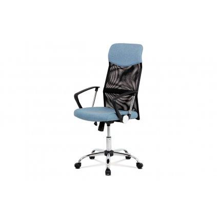 Kancelárska stolička, hojdací mech., Modrá látka + čierna MESH, kovový kríž