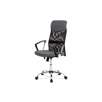 Kancelářská židle řady BASIC, potah šedá látka a černá síťovina MESH, houpací mechanismus, kovový chromovaný kříž