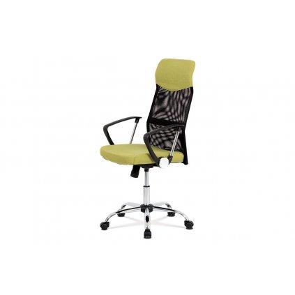 Kancelárska stolička, hojdací mech., Zelená látka + čierna MESH, kovový kríž