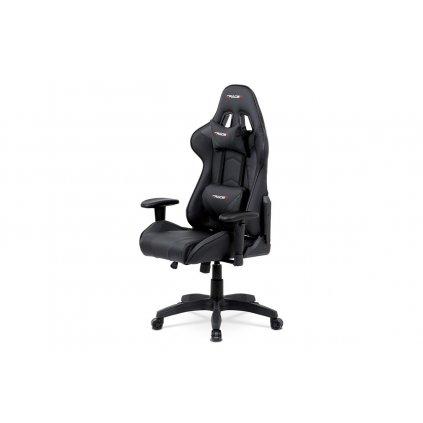 Kancelárska stolička hojdací mech., Čierna koženka, plast. kríž