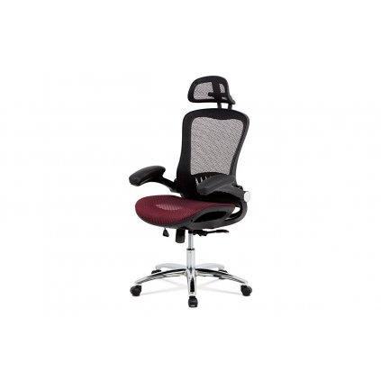 Kancelárska stolička, synchrónny mech., Červená MESH, kovový kríž