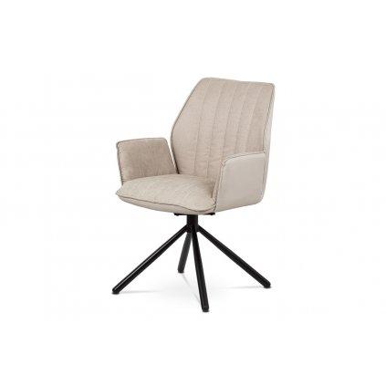Jedálenská stolička, cappuccino ekokoža / látka, kovová podnož, čierny matný lak, otočná o 180 ° so spätným mach.
