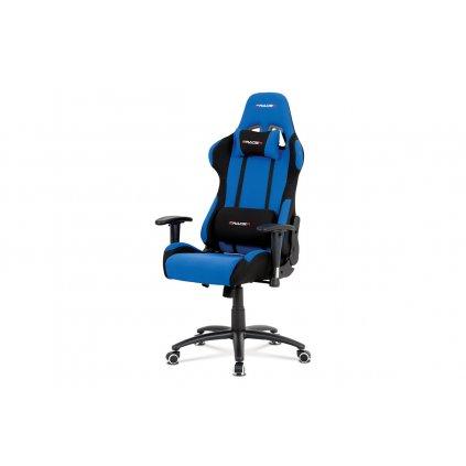 Kancelárska stolička, modrá-čierna látka, hojdací mech, kovový kríž