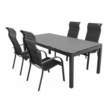 SALERNO MIAMI - hliníková sedacia súprava 4 plus 1 (stôl 150x90 cm)