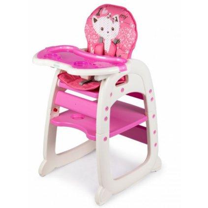 ECO TOYS Jedálenský stolička, stolček 2v1 Mačička - ružová