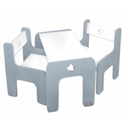 NELLYS Sada nábytku Star - Stôl + 2 x stoličky - sivá D19