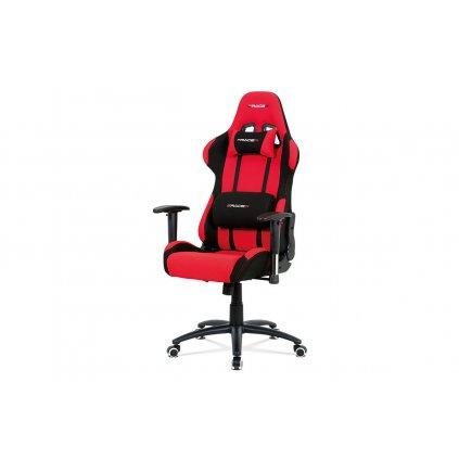 Kancelárska stolička hojdací mech., Červená látka, kovový kríž