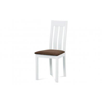 Jedálenská stolička, masív buk, farba biela, látkový hnedý poťah