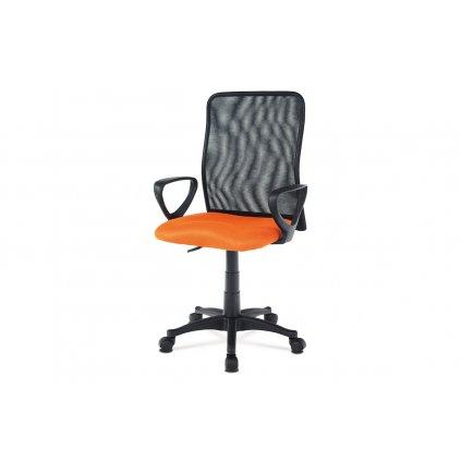 Kancelárska stolička, látka MESH oranžová / čierna, plyn.piest