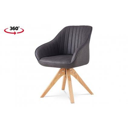 Jedálenská stolička Soňa, sivá látka v dekore brúsenej kože, nohy masív kaučukovník