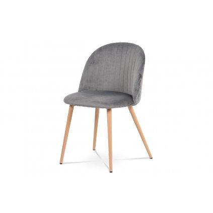Jedálenská stolička - šedá zamatová látka, kovová podnož, 3D dekor buk
