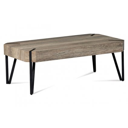 """Konferenčný stolík 110x60x43, dub """"Canyon grey"""", kov matná čierna"""