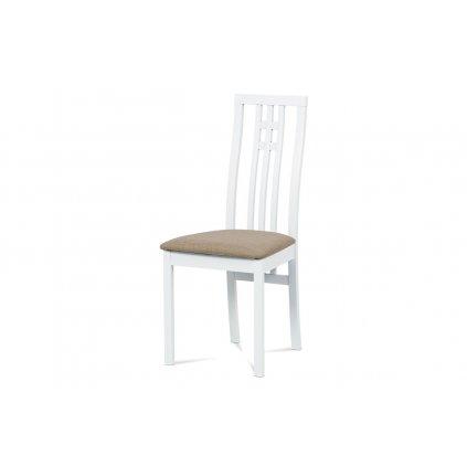 Jedálenská stolička, masív buk, farba biela, látkový béžový poťah