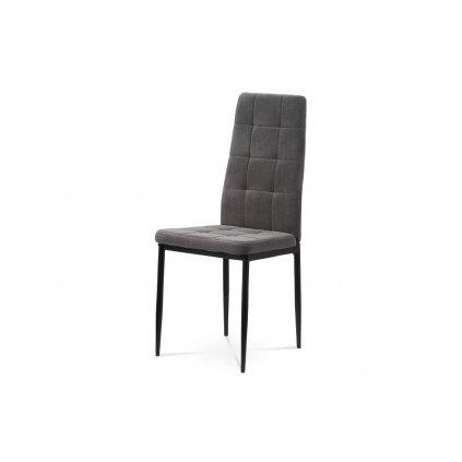 Jedálenská stolička, sivá zamatová látka, kovová štvornohá podnož, čierny matný lak