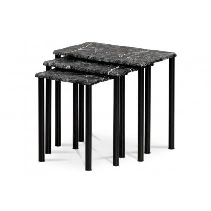 Prístavné a príručné stolíky, set 3 ks, doska MDF, dekor čierny mramor, kovové nohy, čierny matný lak
