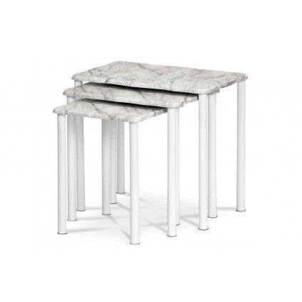 Prístavné a príručné stolíky, set 3 ks, doska MDF, dekor šedobiely mramor, kovové nohy, biely matný lak