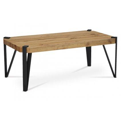 Konferenčný stolík, 110x60x42 cm, doska MDF, dekor divoký dub, kov - čierny mat
