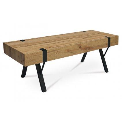 TV stolík, 120x40x40 cm, doska MDF, dekor divoký dub, kov - čierny mat