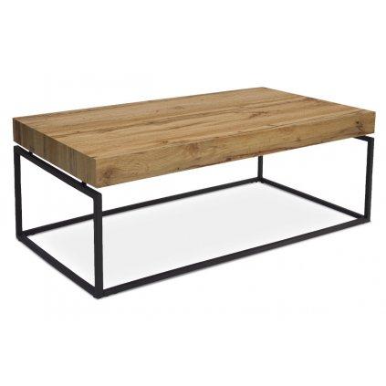 Konferenčný stolík, 110x60x43 cm, doska MDF, dekor divoký dub, kov - čierny mat