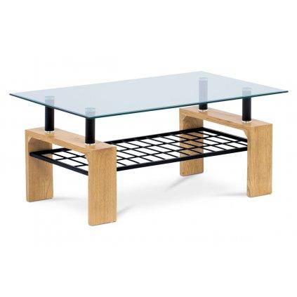 Konferenčný stolík 110x60x44, číre tvrdené sklo, MDF dekor divoký dub, kov čierna