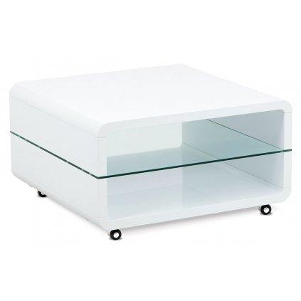 (AHG-015 WT) Konferenčný stolík 80x80x40, MDF biely vysoký lesk, číre sklo, 4 kolieska