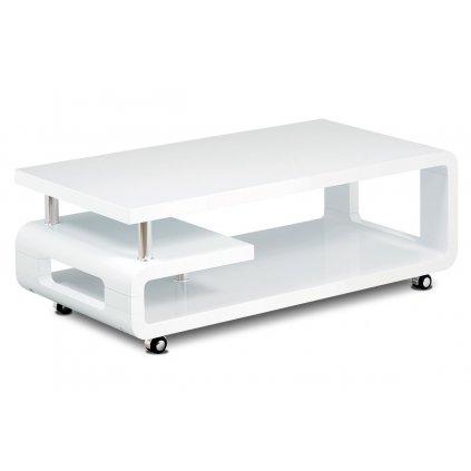 Konferenčný stolík 115x60x43, biela MDF vysoký lesk, chróm, 4 kolieska