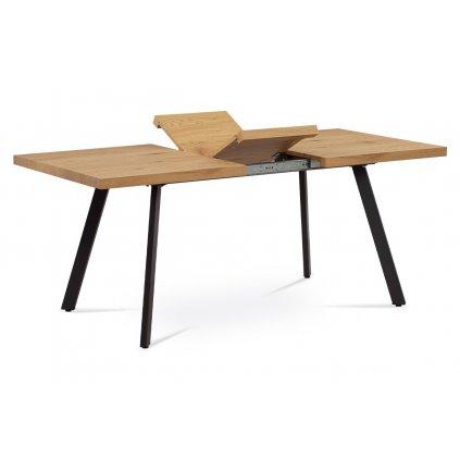 Jedálenský stôl 140 + 40x85x76 cm, MDF doska, 3D dekor dub, kovové nohy, antracitový matný lak