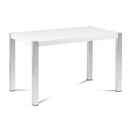 Jedálenský stôl 120x75 cm, MDF doska, biely vysoký lesk, chrómované nohy