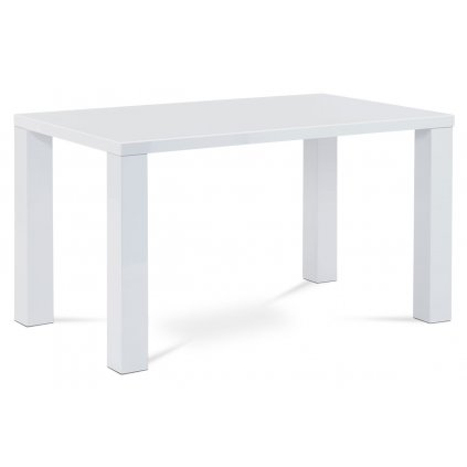 Jedálenský stôl 135x80x76 cm, vysoký lesk biely