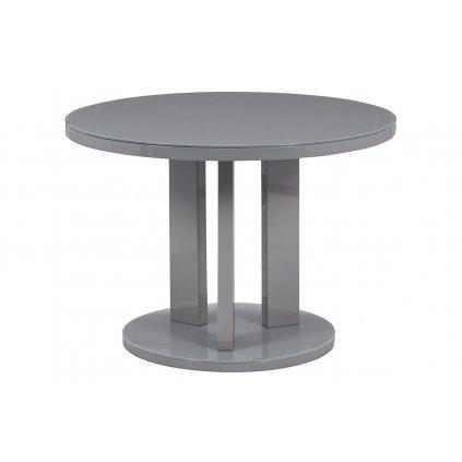 Jedálenský stôl pr. 108 cm, sklo šedé + MDF sivá