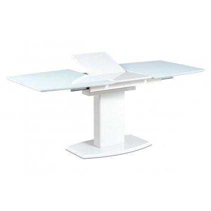 Jedálenský stôl 140 + 40x80 cm, biele sklo + biela MDF