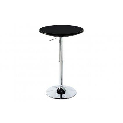 Barový stôl, čierny plast, chrómová výškovo nastaviteľná podnož