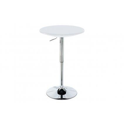 Barový stôl, biely plast, chrómová výškovo nastaviteľná podnož