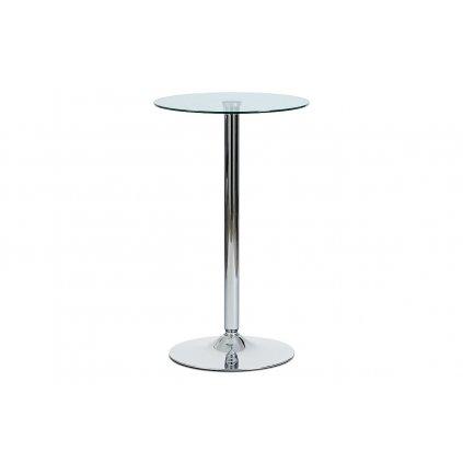 Barový stôl číre sklo / chróm, priemer. 60 cm