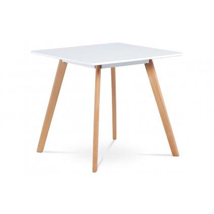 Jedálenský stôl 80x80 cm, MDF, biely matný lak, masív buk, prírodný odtieň