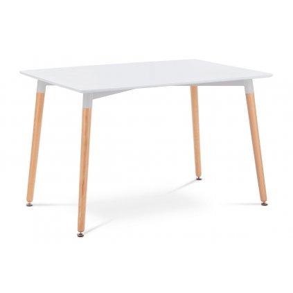 Jedálenský stôl 120x80x76 cm, MDF / kovová konštrukcia - biely matný lak, drevené nohy masív buk, prírodný odtieň