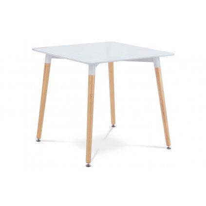 Jedálenský stôl 80x80x76 cm, MDF / kovová konštrukcia - biely matný lak, drevené nohy masív buk, prírodný odtieň