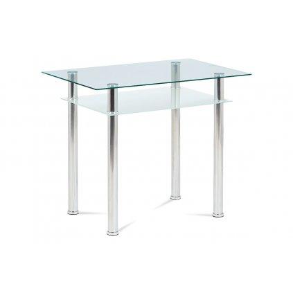 Jedálenský stôl 90x60 cm, číre / mliečne sklo temperované + chróm
