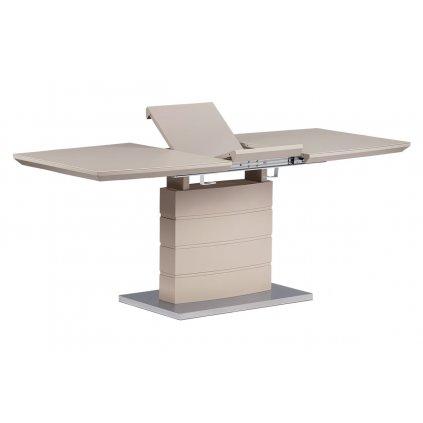 Rozkladací jedálenský stôl 140 + 40x80x76 cm, cappuccino sklo, cappuccino matný lak, brúsený nerez
