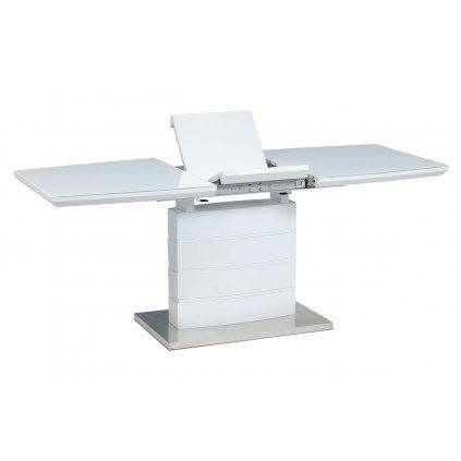 Rozkladací jedálenský stôl 140 + 40x80x76 cm, biele sklo, biely vysoký lesk, brúsený nerez