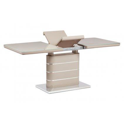 Jedálenský stôl 140 + 40x80 cm, vysoký lesk cappuccino, sklo cappuccino, brúsený nerez