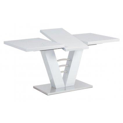 Rozkladací jedálenský stôl 120 + 40x80 cm, biely lesk / brúsený nerez