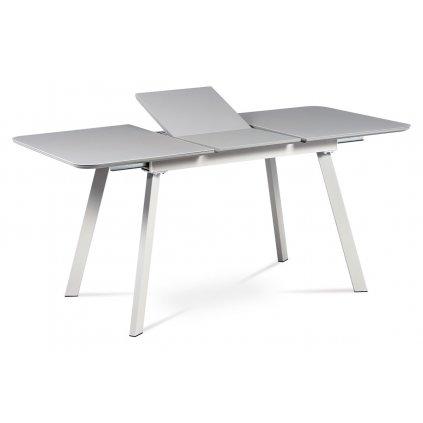 Jedálenský stôl 120 + 40x80 cm, šedá matná MDF + sivé sklo, kov šedý mat