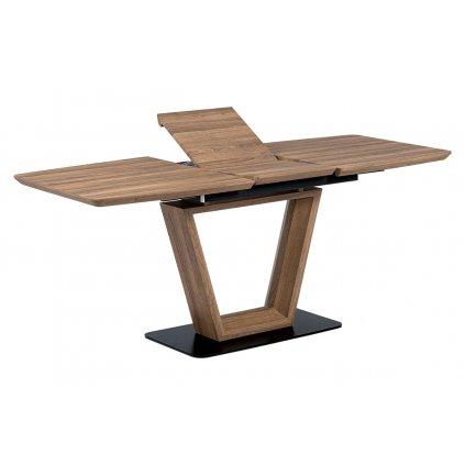 Jedálenský stôl 140 + 40x80 cm, MDF tmavý dub, kov matná čierna
