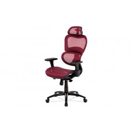 Kancelárska stolička, synchrónny mechanizmus, červená sieťovina MESH, kovový kríž, čierny lak