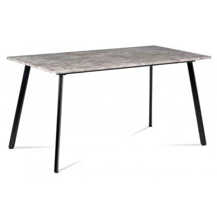 Jedálenský stôl 150x80x76 cm, MDF dekor betón, kovová štvornohá podnož, čierny matný lak