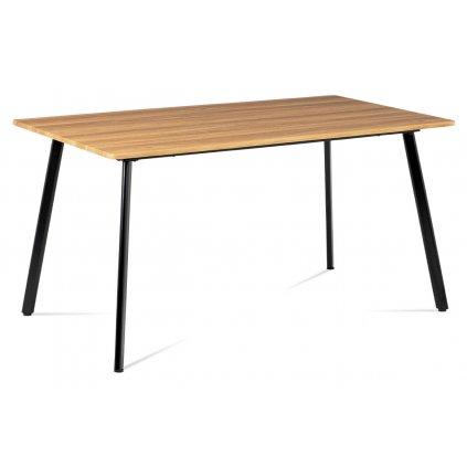 Jedálenský stôl 150x80x76 cm, MDF dekor divoký dub, kovová štvornohá podnož, čierny matný lak