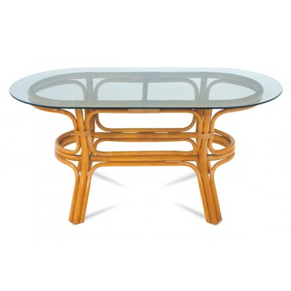 Ratanový konferenčný stolík, morenie svetlý med. BEZ SKLA.