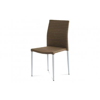 Záhradné stoličky, umelý ratan, kovová podnož, strieborný lak, stohovateľná