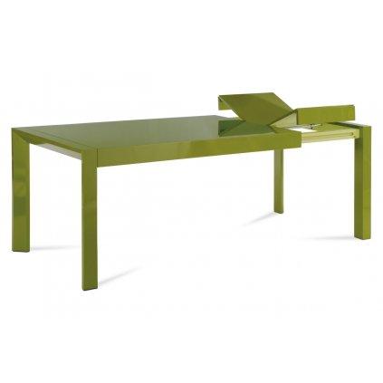 Jedálenský stôl rozkl., 160 + 50x90 cm, vysoký lesk zelený